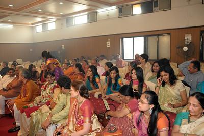Relatives and friends at the wedding of Jay (s/o Swarup & Harsh Javeri) & Lakshmi (d/o Gayatri & Govindrajan) held at Sri Ahobila Mutt Hall, Chembur, Mumbai.  The venue is a sacred place consecrated by His Holiness Srivan Satakopa Sri Vedanta Desika Yatindra Mahadesika (the 44th Jeeyar of Sri Ahobila Mutt).