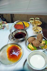 Assorted puja items. Pictures from the wedding of Jay (s/o Swarup & Harsh Javeri) & Lakshmi (d/o Gayatri & Govindrajan) held at Sri Ahobila Mutt Hall, Chembur, Mumbai.  The venue is a sacred place consecrated by His Holiness Srivan Satakopa Sri Vedanta Desika Yatindra Mahadesika (the 44th Jeeyar of Sri Ahobila Mutt).