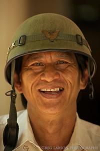 Old American style helmet, mekong delta, vietnam.