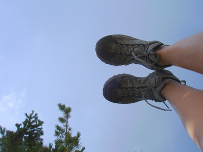 Laying in middle of East Longs Peak Trail (Sept 2008)