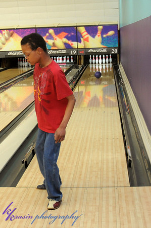 """Purposely stepping over the line... he liked the buzzing noise & all of us saying """"Alonzo!"""" (notice his bowling ball is going straight down the middle, but he's busy putting his toe over the line)"""
