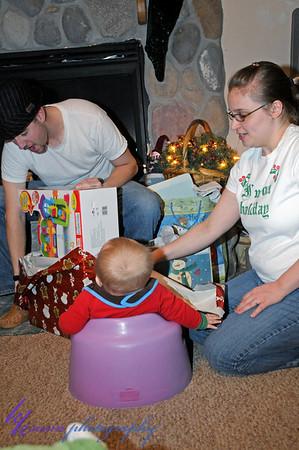Matt, Malia, & Noah opening one of Noah's presents