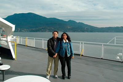 Anu & Suchit on the ship crossing Vancouver to Victoria with the car on the lower deck. Canada, Nov'2004.