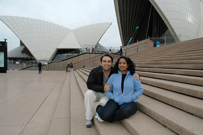 Anu & Suchit at the steps of the Opera House, Sydney, Australia, July 2005.