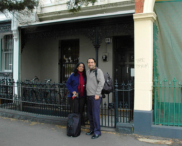 Anu & Suchit outside Andrew Garton's house in Melbourne, Australia, July 2005.