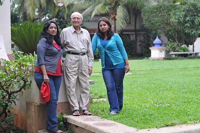 Anu & Sandhya with Papa. Visit to Club Mahindra Resort, Varca Beach, Goa.