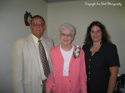 6/10/03  Richard, Eleanor, and Heather before the Eastern Star Pinning.  In grandma's room at Trinity Manor.