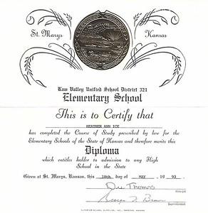 19930818 8th Grade Diploma
