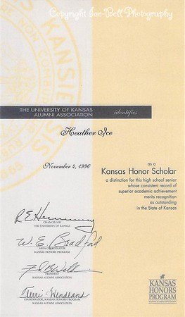 19961104 Heather Ice Kansas Honor Scholar