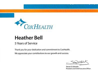 2018 Cox Health 5 Year Service Award