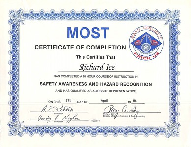 April 17, 1996 MOST Certificate of Completion