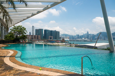 At the pool side in The Harbourside residence, Kowloon, Hong Kong.