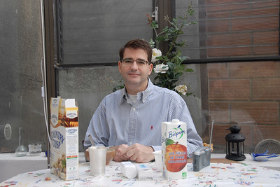 Antoine Leger at breakfast in Meudon, Paris, France.