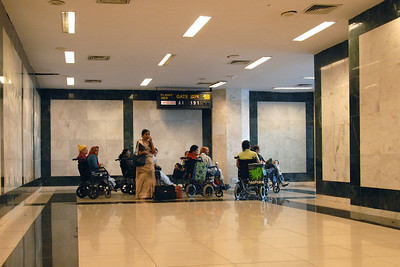 Leaving Mumbai from Sahar International Airport, Mumbai, India on AI Air India flight. It was strange that all wheel chair passengers were lined up at the gate nearly 30 to 45 min before departure while the rest sat in the lounge area post immigration & security check.