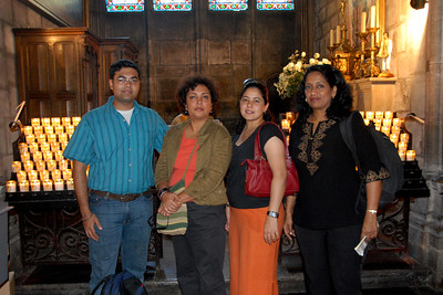 Piyush, Poonam, Priya and Suchit in Notre Dame, Paris, France
