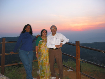 Anu with Papa & Amma at Matheran.  Trip to Matheran to take parents out on a forced-holiday by their children. :)