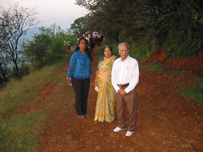 Anu with Amma and Papa at Sunset point at Matheran.