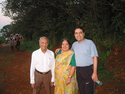 Papa, Amma and Suchit at Sunset point Matheran.  Trip to Matheran to take parents out on a forced-holiday by their children. :)