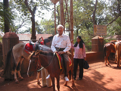 Papa taking a horse ride in Matheran.