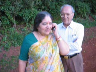 Trip to Matheran to take parents out on a forced-holiday by their children. :)  Amma and Papa talking back home to Mumbai on a weak signal.