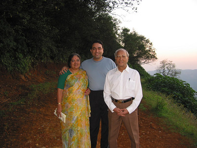 Amma and Papa with Suchit (thanks Anu for the picture).  Trip to Matheran to take parents out on a forced-holiday by their children. :)