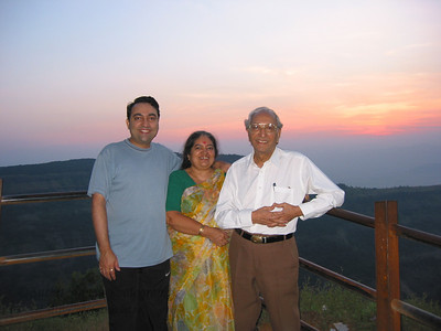 Suchit with Papa & Amma at Matheran.  Trip to Matheran to take parents out on a forced-holiday by their children. :)