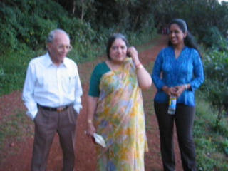 Amma and Papa talking back home to Mumbai on a weak signal.  Trip to Matheran to take parents out on a forced-holiday by their children. :)