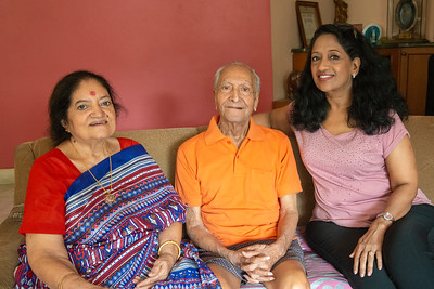 Anu with Papa and Amma at home during Kiran Mausji & Satish Mausaji's visit to Powai, Mumbai in October 2018.