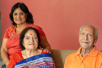 Kiran Mausji with Amma and Papa during Kiran Mausji & Satish Mausaji's visit to Powai, Mumbai in October 2018.