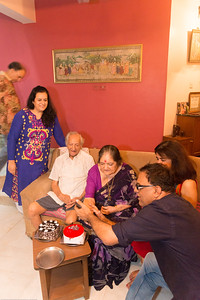 Papa (S K Nanda)'s B'day celebration at Eden-4 home on 5th May, 2017. Cutting of cake.