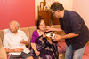 Umesh feeding Papa and Amma the birthday cake. Papa (S K Nanda)'s B'day celebration at Eden-4 home on 5th May, 2017