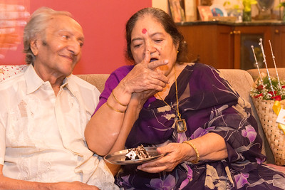 Amma feeding Papa the birthday cake - Papa (S K Nanda)'s B'day celebration at Eden-4 home on 5th May, 2017