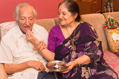 Amma feeding Papa the birthday cake - Papa (S K Nanda)'s B'day celebration at Eden-4 home on 5th May, 2017