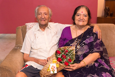 Papa and Amma together at Papa (S K Nanda)'s B'day celebration at Eden-4 home on 5th May, 2017