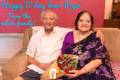 Happy Birthday dear Papa - best wishes from the whole family Papa and Amma together at Papa (S K Nanda)'s B'day celebration at Eden-4 home on 5th May, 2017