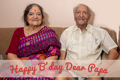 Happy Birthday Dear Papa! Best wishes from the whole family.  Papa and Amma together at Papa (S K Nanda)'s B'day celebration at Eden-4 home on 5th May, 2018.