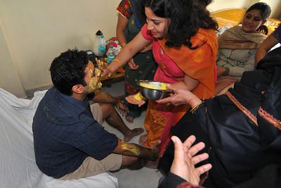 Haldi being applied by family members on Piyush at Hotel Magadh. Nimisha wed Piyush Seth in Patna on 1st Feb, 2008.