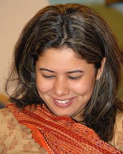 That's not Priya blushing but rather Priya reading her card.