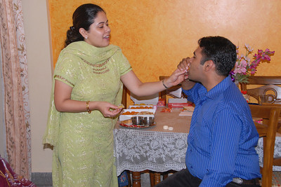 Priya tying rakhee to Piyush. Rakhi Celebrations held at Priya & Piyush Seth's home in Romy Apartments, Marol, Mumbai on 28th Aug 2007.