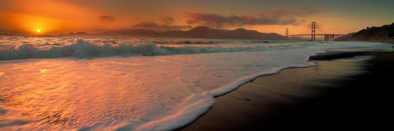Baker Beach San Francisco CA, overlooking South Bay to the Golden Gate Bridge