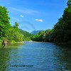 a fly-fisherman casts a straight long line upstream for trout in a clear water river