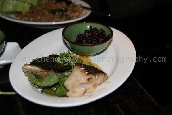 Cod with micro-greens and tea sauce