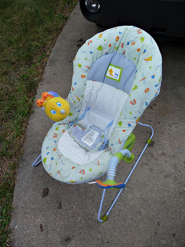 Infant bouncer with lights/music/mirror.  Great condition, barely used.  $15