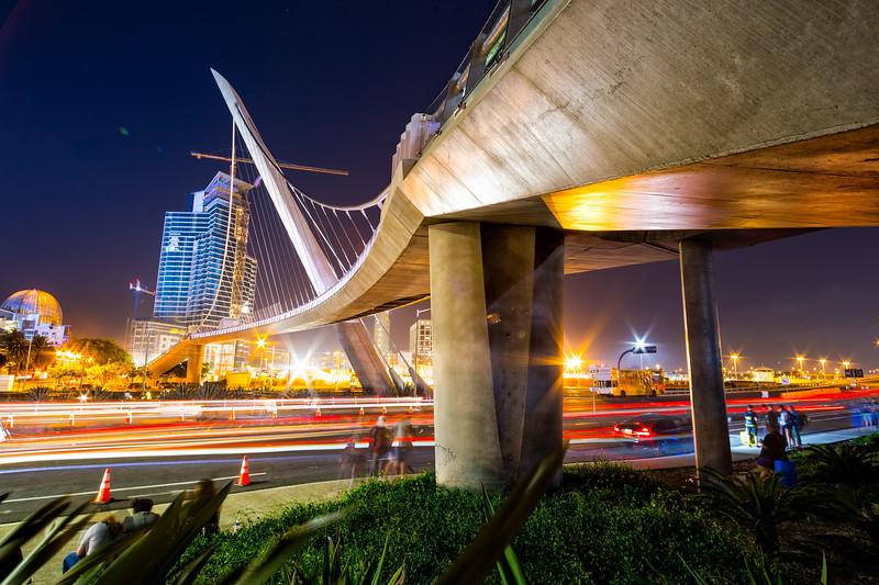 Under the bridge at night