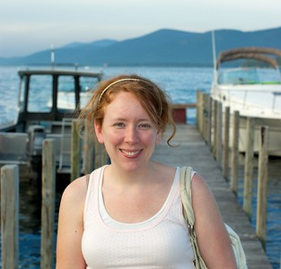 This is Laura chillin in front of one of the many docs out side of Lake George.