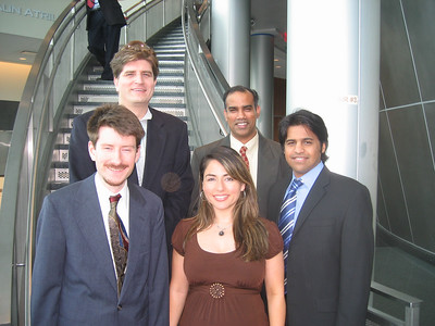 In the photo (From left to right): Brendan McDonald, Roy Uwe Rojas Wahl, Ellie Mahjubi, Srinivasa Nallamotu and Nabeel Shamim