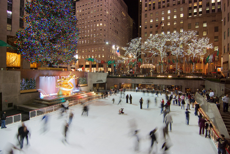 While ice skating at Rockefeller Center is an experience that many New York City visitors desire, keep in mind that you're paying a premium to be able to say you ice skated at Rockefeller Center -- despite the small ice skating surface and the often crowded atmosphere. Ice skating prices at Rockefeller Center are most expensive during peak holiday periods, and busiest at those times also. Early morning during holiday periods and weekdays before 4 p.m. tend to be quieter times at the Ice Rink at Rockefeller Center.