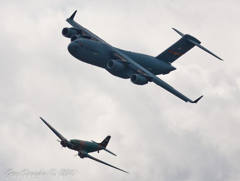 C-47 Spooky and C-17 Globemaster III Heritage Flight Photo taken during Wings Over Houston 2010 at Ellington Field in Houston, Texas