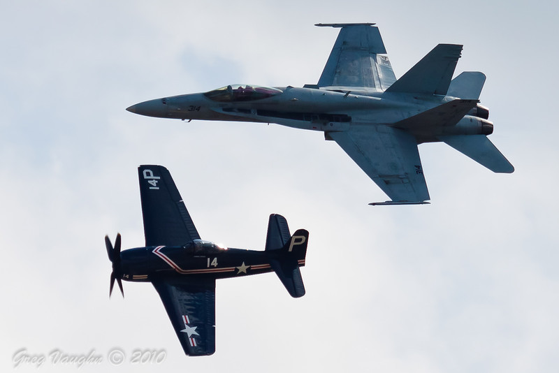 Navy Heritage Flight with F-18 and F8F at Wings Over Houston 2010 at Ellington Field in Houston, Texas