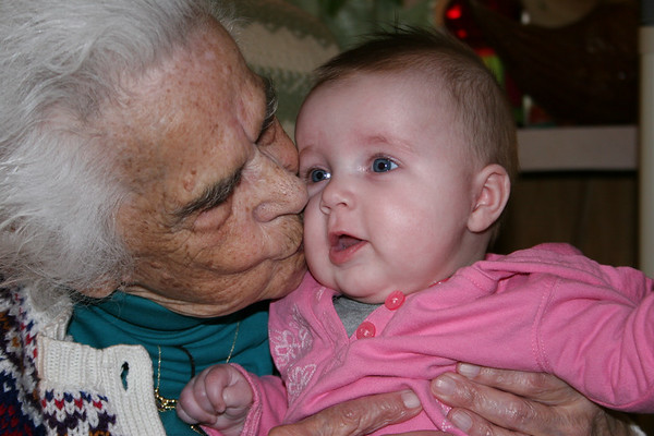 Isabelle with Great Grandma Riopel on her 92nd birthday!